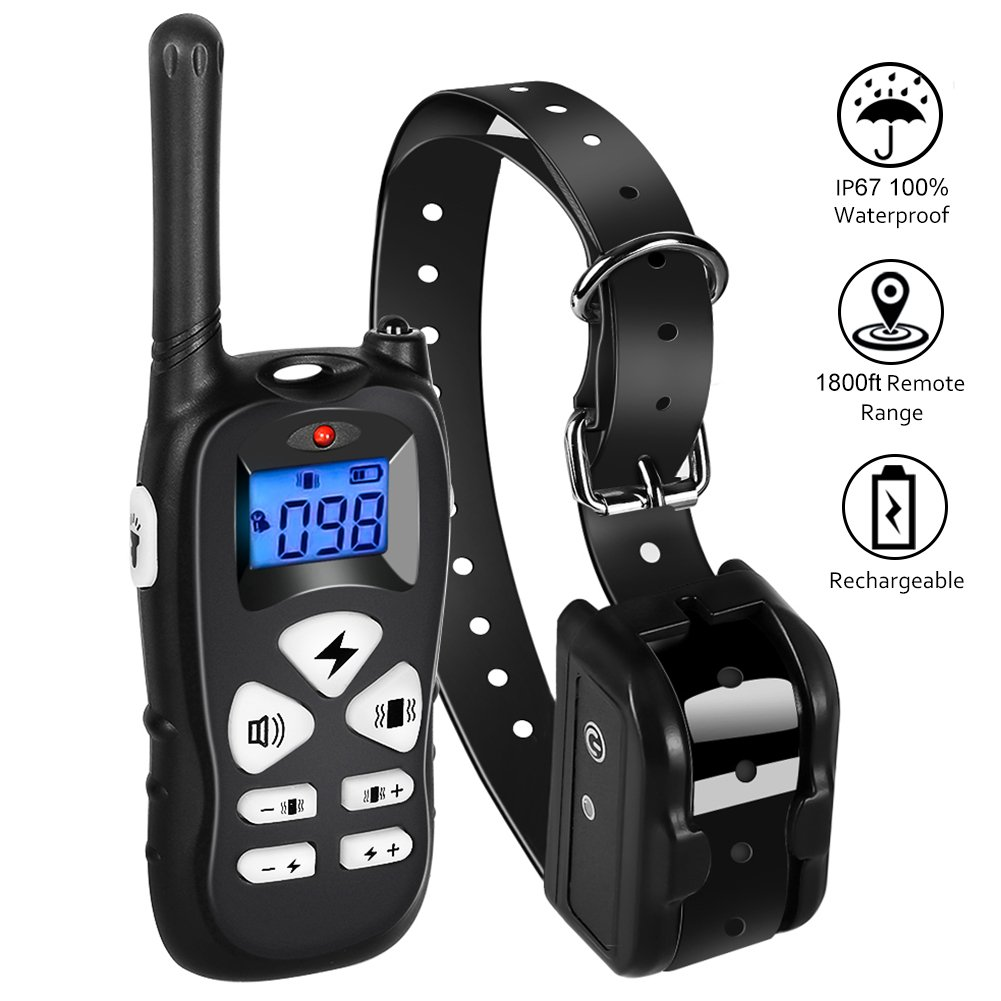 iTao Dog Training Collar, Dog Shock Collar with Beep Vibration Shock Modes, 1800ft Remote Rechargeable Waterproof Electric Barking Collar for Small Medium Large Dogs