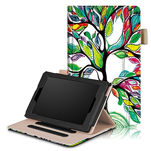 Fitmore For All-New Amazon Fire 7 Tablet (5th Generation 2015 & 7th Generation 2017) PU Leather Tablet Case Cover with Stand Function Hand Strap and Pen Holder (Happy Tree) by Fitmore
