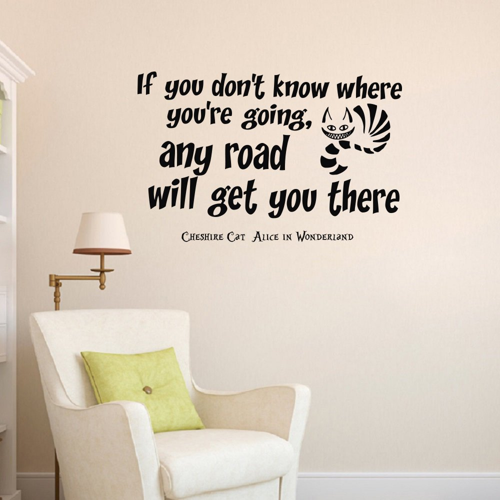Wall Vinyl Decal Quote Sticker Home Decor Art Mural If You Donu0027t Know Where  You Are Going Any Road Can Take You There Alice In Wonderland Cheshire Cat  Z326 ... Part 98