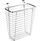 InterDesign Axis Over the Cabinet Wastebasket Trash Can or Storage Basket for Kitchen - Chrome