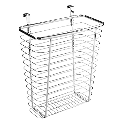 InterDesign Axis Over The Cabinet Wastebasket Trash Can Or Storage Basket  For Kitchen   Chrome