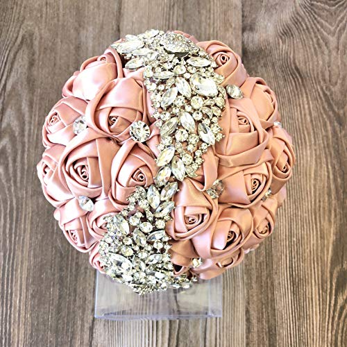 Abbie Home Silver Brooch Bouquet - Bride Wedding Bouquets Bridesmaids Satin Rose Flower with Sparkle Rhinestone Crystal Decoration (Blush Pink)