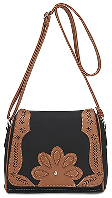 75d41746a5d1 Women s PU Hollow Shoulder Bag Hobo Crossbody Bag Front Belt Messenger Bag  Black