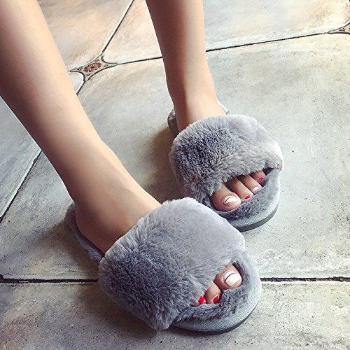 LaxBa Lhiver au chaud, lhiver Chaussons Chaussons moelleux Accueil chaleureux en hiver, chaussures antiglisse Chambre chaussons Le mot38-39 gris (habituellement 37-38 pieds)