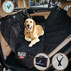Dog Car Seat Cover, Pet Car Hammock, Reinforced Quilted Panels, Convertible Backseat Protector with Extra Side Flaps, Waterproof + Bonus Dog Seat Belt by 2BExpert
