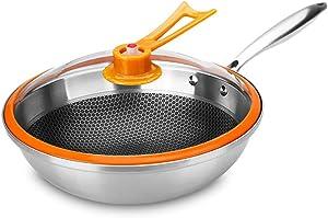 CLL Non-Stick Wok - Stainless Steel Pan Home Cooking Pot Honeycomb Vacuum Kitchen Wok - Orange - 32 cm