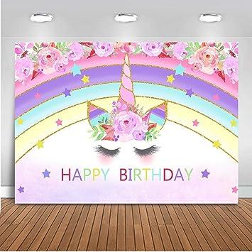 Mocsicka Unicorn Pool Party Backdrop Girl Pool Party Birthday Photo Background 7x5ft Splash Pool Party Backdrops
