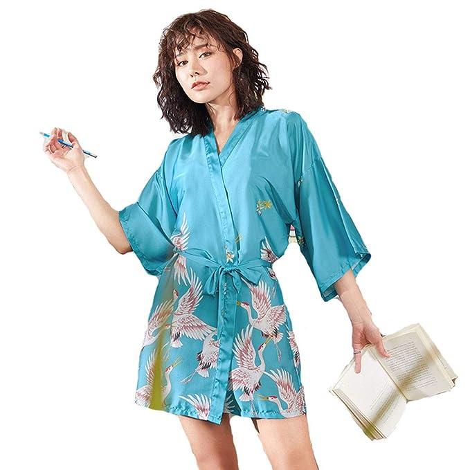 2019 Sexy Pijama lencería Kimono Corto de satén de Estampado Floral para Mujer,Elegante Vestido