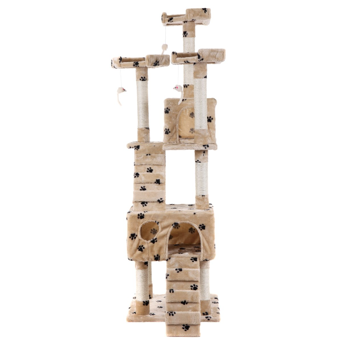 LAZYMOON 67'' Cat Tree 4-Tier Tower Condo Play House Furniture w/ Scratching posts and Toy Mouse Beige with Footprint by LAZYMOON (Image #8)