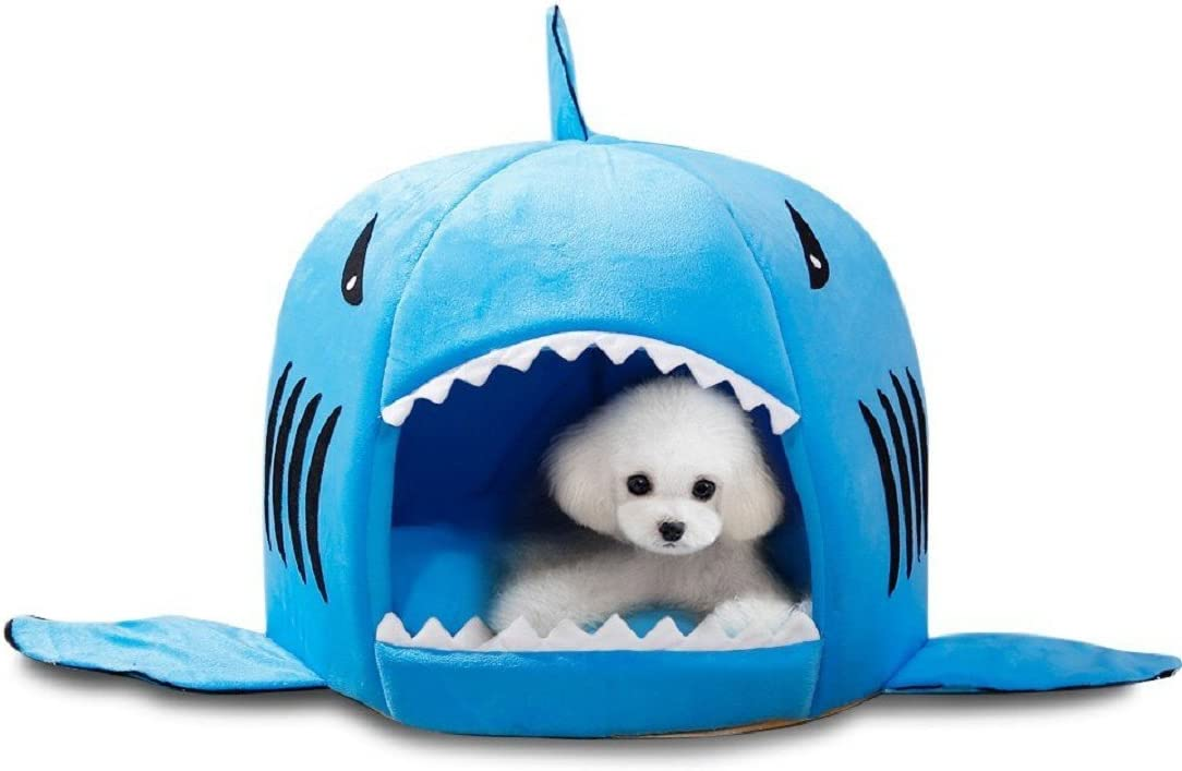 Egmy Shark Shape Pet Dog Puppy Cat House Bed Warm Pet Product House Shelter Cozy Nest Mat Pad Autumn Winter