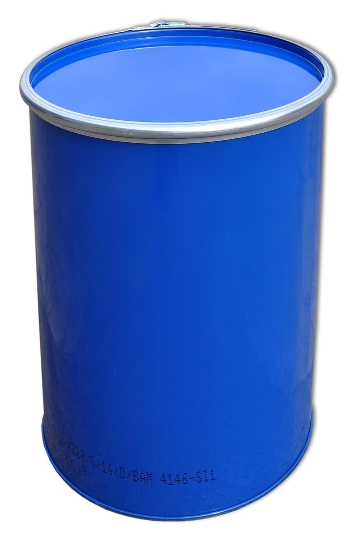 Stahlfass Blechfass Spundfass Ölfass Deckelfass Metallfass , 213 Liter (Blau)