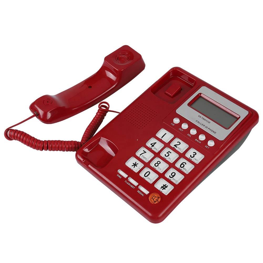 T/él/éphone Filaire avec Haut-Parleur la Maison Affichage ID de lAppelant//Enregistrement Appel//Num/érotation Appel T/él/éphone de Bureau plac/é sur Le Bureau Rouge Kafuty T/él/éphone Fixe Filaire