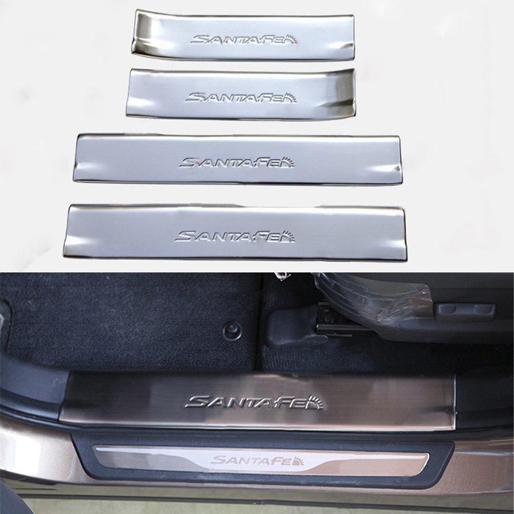 4 PCS Fit for Hyundai Santa Fe Sport IX45 2013-2018 Stainless Steel Door Sill Scuff Plate Guard Sills Protector Trim KPGDG