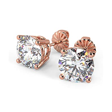 41839e30f Buy Ornativa 18K Rose Gold Plated Real 925 Sterling Silver White Cubic  Zirconia 8mm Round Hallmarked Stud Earrings for Women Online at Low Prices  in India ...