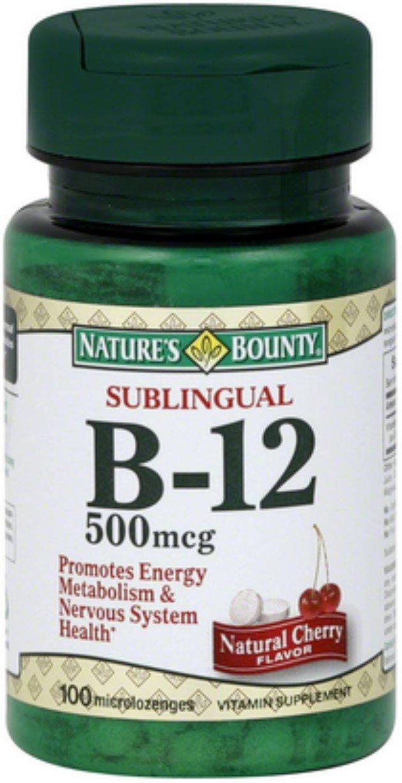 Nature's Bounty Vitamin B-12 500 mcg Microlozenges 100 ea (Pack of 10)