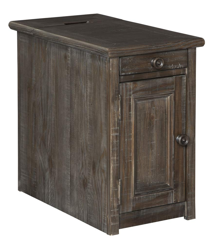 "Signature Design by Ashley T648-7 Wyndahl Chair Side End Table, 14"" W x 24"" D x 23"" H, Rustic Brown"