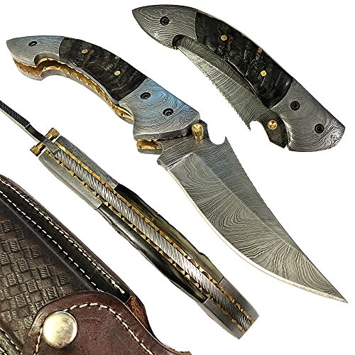 Yooyo Handmade Damascus Steel Folding Pocket Knife Decorative Knives, Camping Survival Knife, and Hunting Knife with Exquisite, Sharp Blade with Leather Sheath (P3-R)