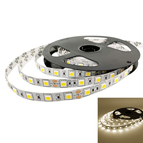 YUNBO LED Strip Lights Natural White 4000-4500K Waterproof 24V Flexible LED Tape Lights Cuttable 300 Units SMD 5050 LED Lighting 16.4ft/5m