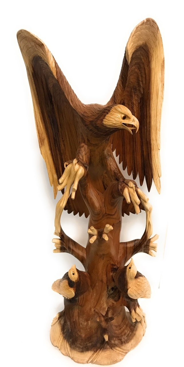 Exquisite Hand Carved Eagle Scene 40'' X 16'' - Hand Carved | #rta20