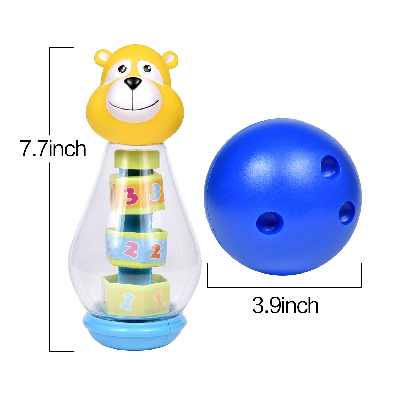 Bowling Set for Toddlers with 6 Animal Head Bowling Pins and 2 Bowling Balls, Toddler Outdoor Toys, Bowling Game for Kids by FUN LITTLE TOYS (Image #4)