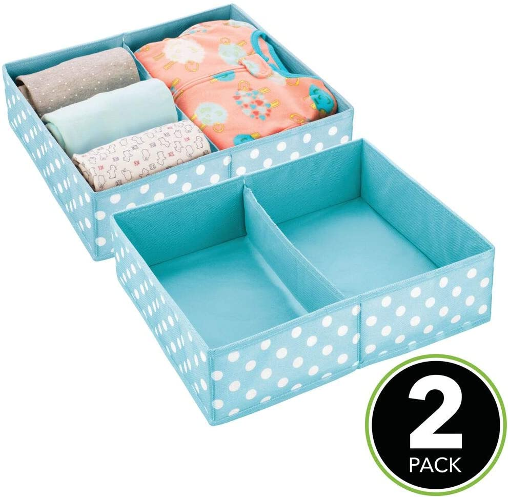 t/ürkis und wei/ß Kinderschrank Organizer mit 2 F/ächern mDesign Aufbewahrungsbox f/ür Kleidung Kinderzimmer Aufbewahrungsbox aus Stoff Babysachen usw