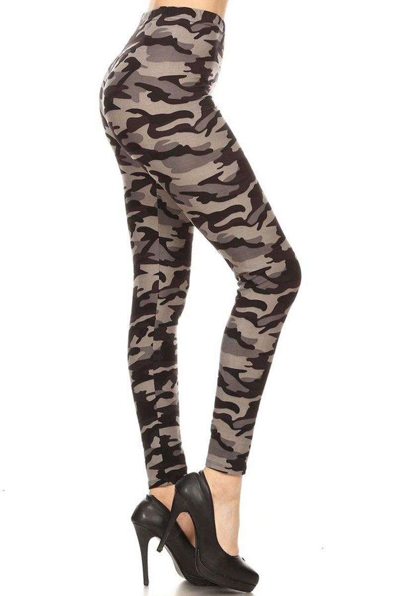 Leggings Depot Ultra Soft Regular Fashion Leggings BAT26 (Army Grey Camo, Plus Size (Size 12-24))