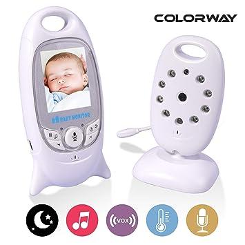 COLORWAY Babyphone mit Kamera Gegensprechfunktion Digital mit Temperatursensor Schlaflieder Nachtsicht wei/ß video babyphone Wireless Baby Monitor