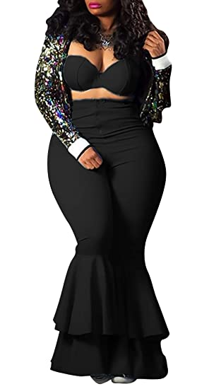 4deba1ffe7d Amazon.com  LKOUS Women Sexy Bodycon Bra Crop Top Zipper High Waist Long  Pants Jumpsuits 2 Piece Outfits Clubwear Plus Size  Clothing