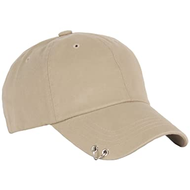RaOn B160 Punk Silver Ring Piercing Rock Cotton Basic Ball Cap Baseball Hat  Truckers (Beige 60506a7c1dda