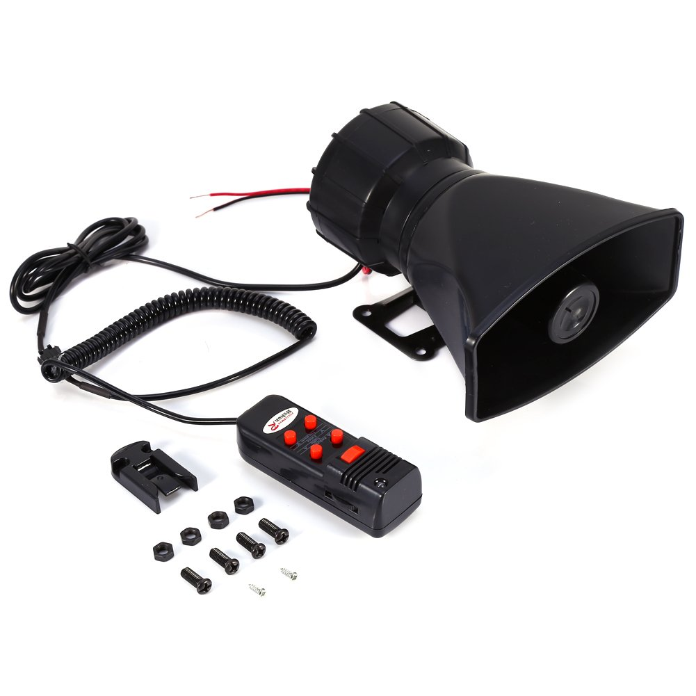 Yosoo 12V 60W 5 Tone Sound Car Siren Speaker Vehicle Horn With Mic PA Speaker System Emergency Sound Amplifier for Hooter/Ambulance/Traffic/Police/Fire Alarm