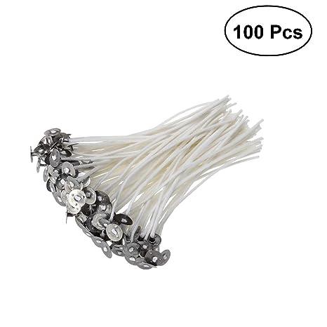 ULTNICE 100pcs Mechas de Vela mecha de algodón con pestañas para hacer velas artesanía DIY (