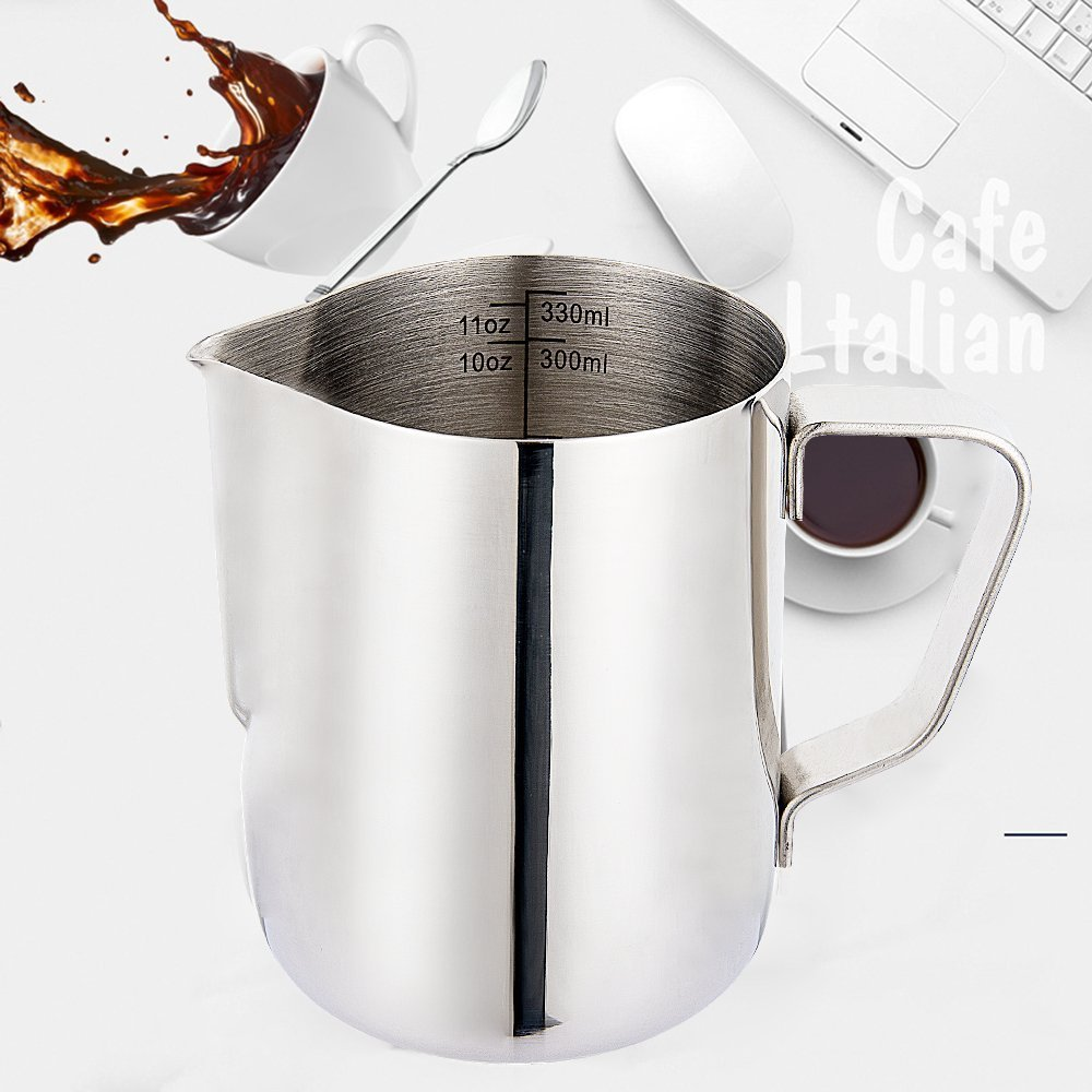 CUSIBOX Milk Frothing Pitcher Stainless Steel Latte Art Creamer Cup Silver 20 oz (600 ml) with Measurement Scales for Espresso Machines (Milk Frothing Silver)