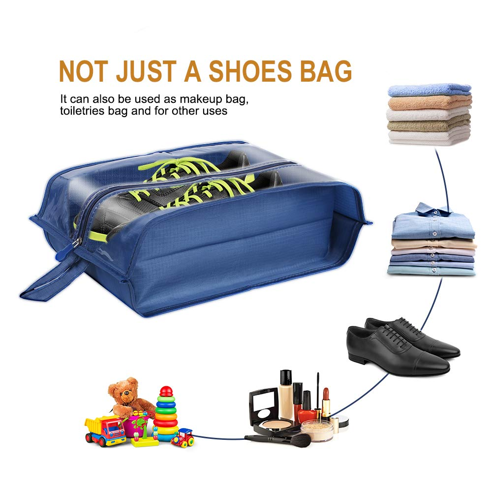 Tinbrot Zipper Storage Organizer Bag Transparent Waterproof Tote Pouch for Men /& Women 4 PCS Shoe Bags for Travel