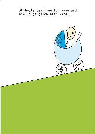Lustige Gratulationskarte Mit Kinderwagen Und Spruch Zur Geburt