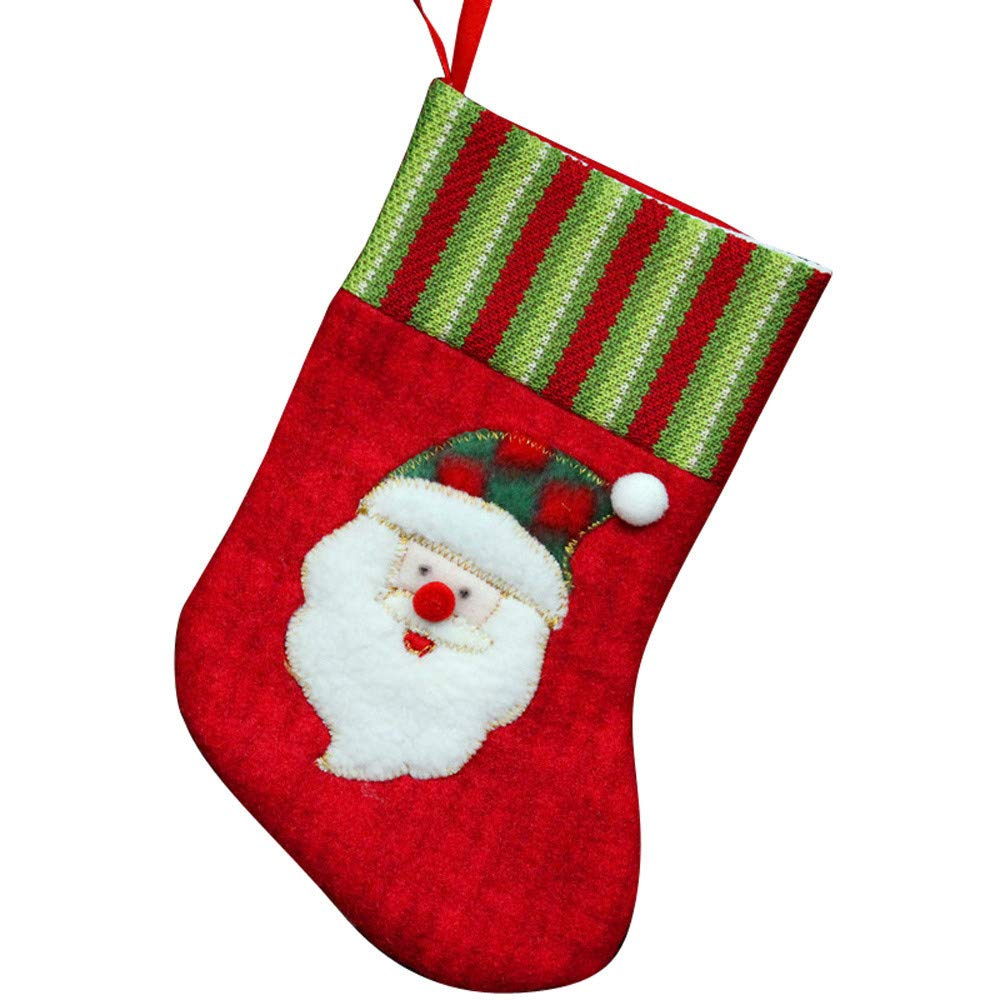 Christmas Stockings Bags Hanging Ornaments Assorted Gift Socks Hanging for Xmas Tree Decoration Xmas Candy Gift Bag Socks(A)