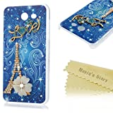 Galaxy J3 Emerge Case - Mavis's Diary 3D Handmade Bling Colorful Diamonds Gold Tower White Flower with Shiny Sparkle Rhinestone Gems Crystal Clear Hard PC Case Cover