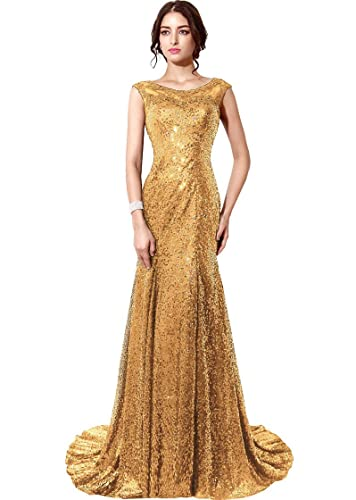 Belle House Sequined Mermaid Sheer Neck Evening Dress Prom Gown HSD197