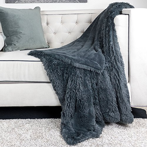 Homey Cozy Faux Fur and Flannel Metal Gray Throw Blanket, Super Soft Shaggy Fleece Fuzzy Lightweight Wool Plush Blanket for Sofa Couch Decorative Floor, 50