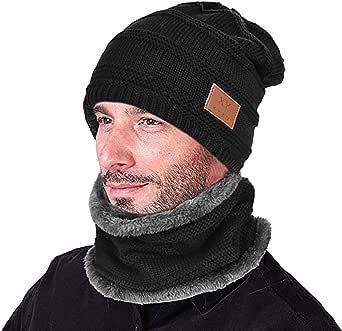 Opard Wintermütze Warm Beanie Strickmütze und Schal mit Fleecefutter