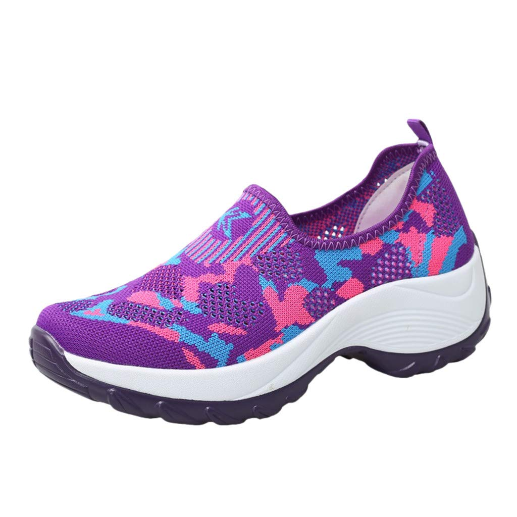 Women's Slip-On Platform Sneakers,Girls Walking Tennis Shoes Mesh Breathable Camouflage Loafers Thick Bottom Nurse Shoes (Purple, US:5)