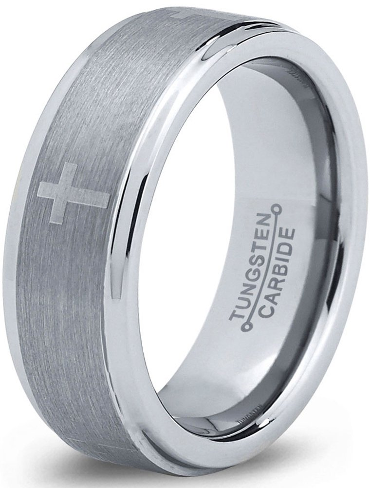 Charming Jewelers Tungsten Wedding Band Ring 8mm for Men Women Christian Cross Comfort Fit Step Beveled Edge Brushed Size 5.5