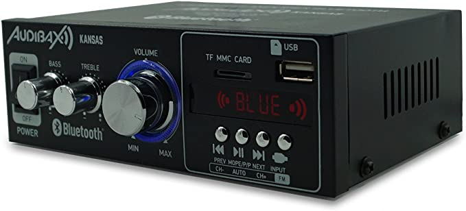 Audibax Kansas Amplificador HiFi con Bluetooth / MP3 / FM. Entrada ...