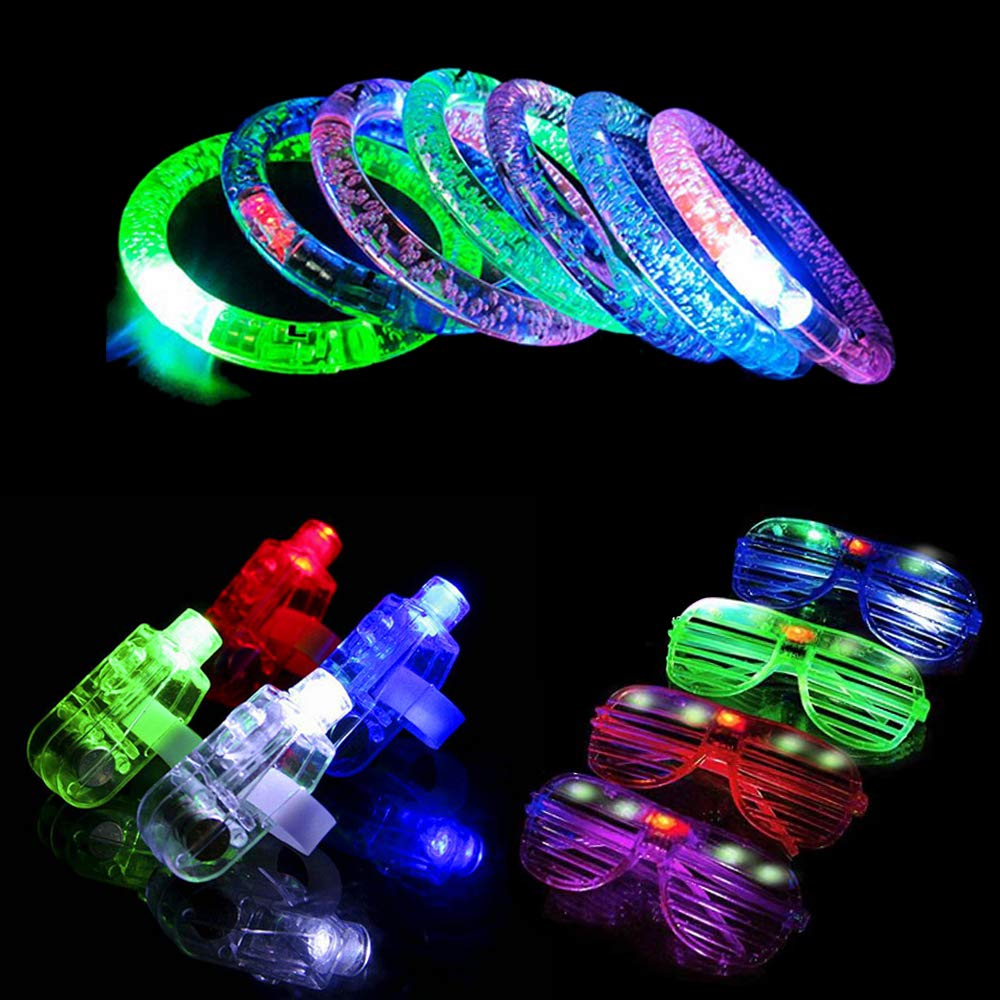 Taotuo LED Light UP Toys, 40pcs LED Finger Lights, 6pcs LED Flashing Bracelet and 6pcs Flashing Slotted Shades Glasses, 52 Pack Party Suppliers Glow in The Dark by Seerootoys