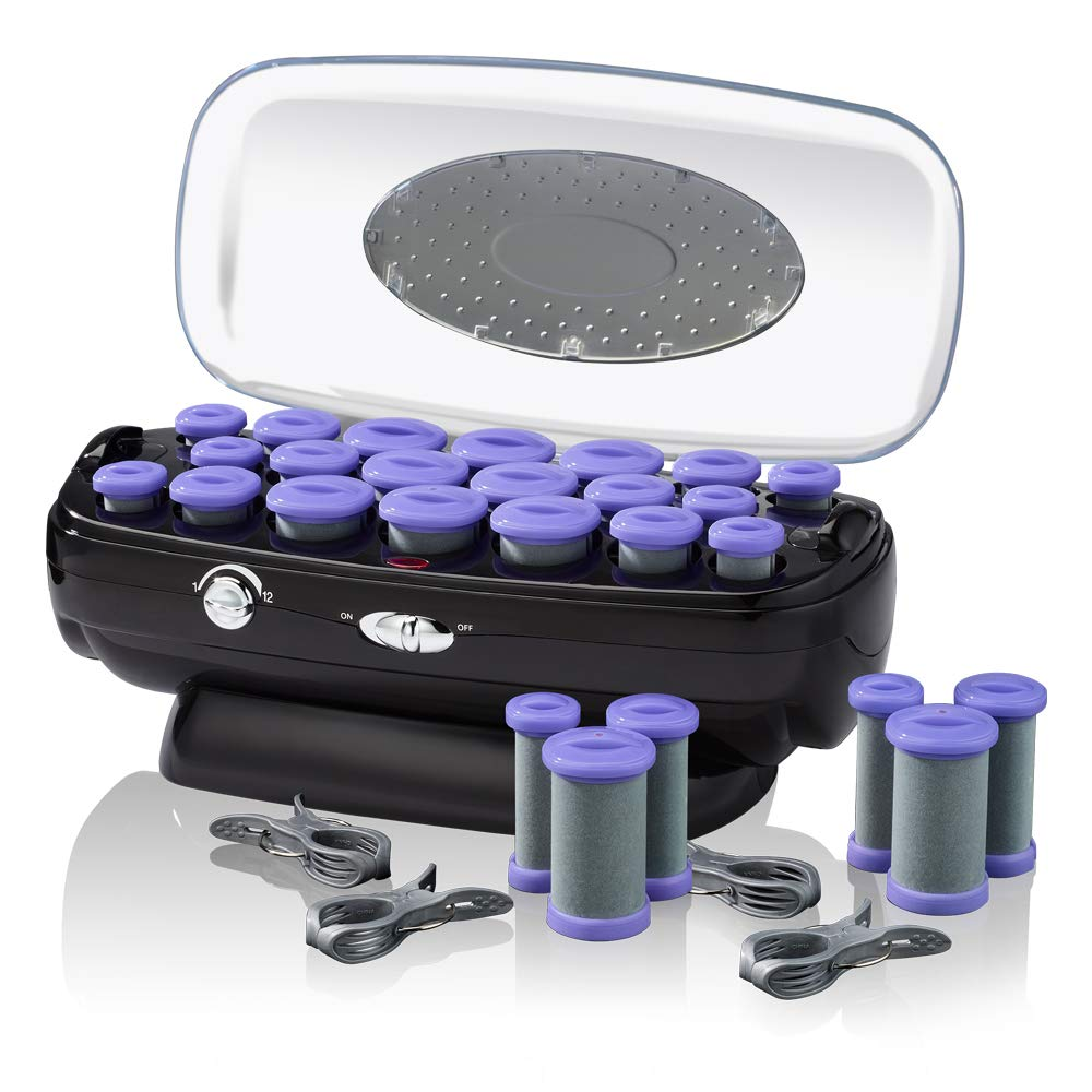 INFINITIPRO BY CONAIR Instant Heat Ceramic Flocked Rollers w/ Ionic Generator, Retractable Cord Reel, 20 count by Conair