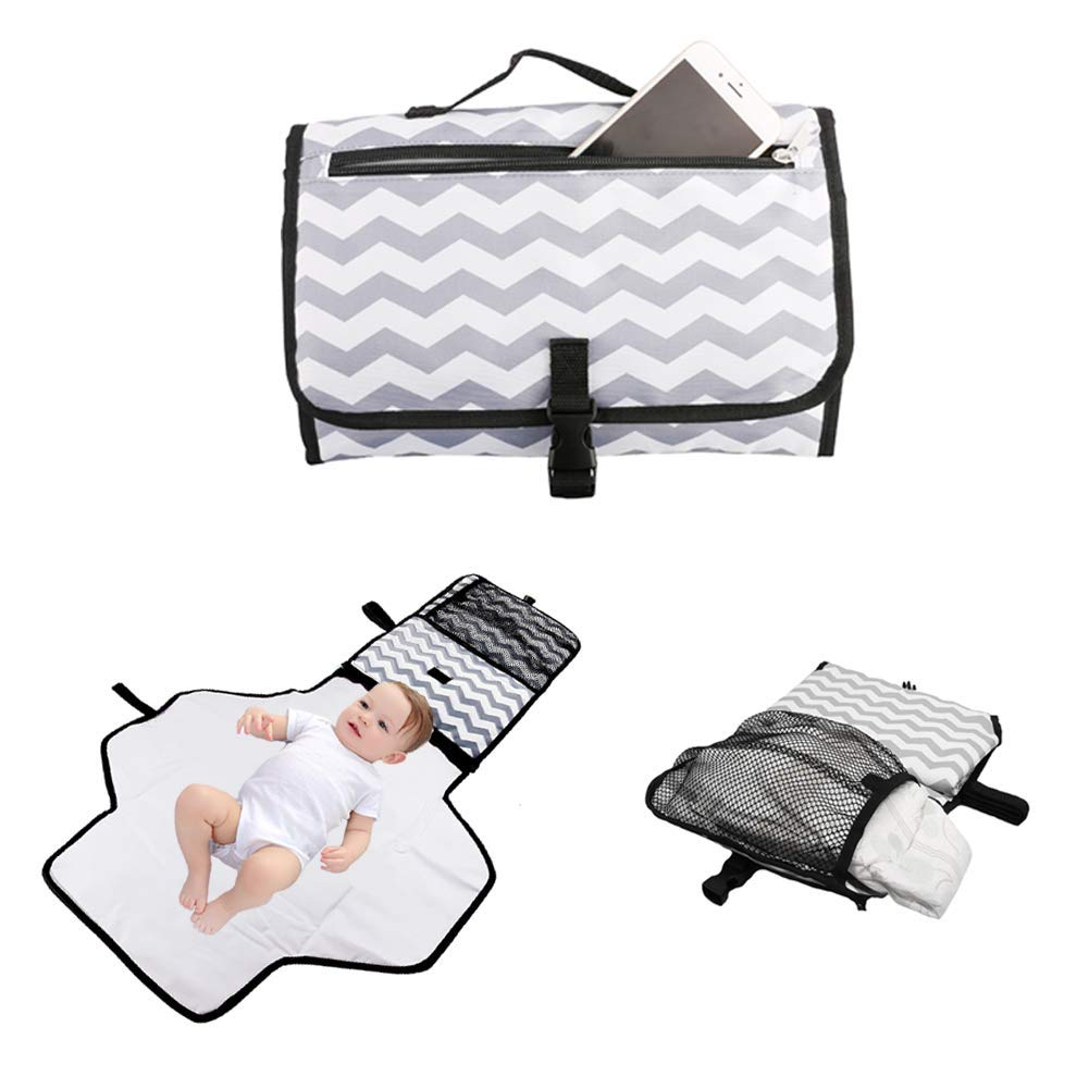 Portable Waterproof Baby Diaper Changing Pad Kit Travel Home Change Mat Organizer Bag Foldable Travel Changing Station for Toddlers Infants and Newborns vadalala