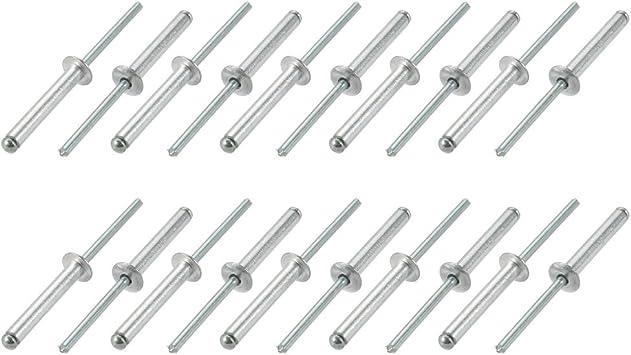 sourcing map Remaches Ciegos 5 mm x 25 mm de aluminio//acero de extremo abierto 30 piezas
