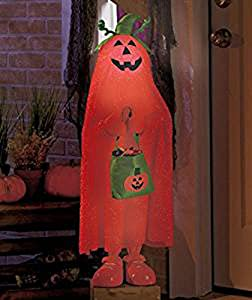 Lighted Color Changing Halloween Trick or Treater Pumpkin Kid Jack O Lantern Candy Bag Witch Hat Greeters Haunted House Decor