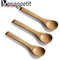3PCS/Lot Bamboo Kitchen Wooden Cooking Tools Spoon Spatula Mixing Small Bamboo Spoon Holder Dinner Food Rice Wok Shovels Tool : B