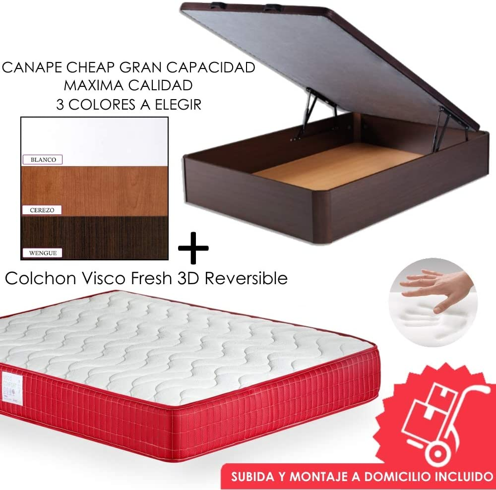 MICAMAMELLAMA Pack Canapé de Madera Cheap + Colchón Viscoelástico VISCO Confort Fresh 3D Reversible - Montaje Incluido (Wengue, 135x190)