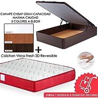 MICAMAMELLAMA Pack Canapé de Madera Cheap + Colchón Viscoelástico VISCO Confort Fresh 3D Reversible - Montaje
